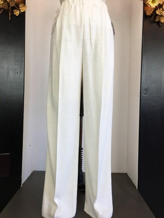 1980s knit pants, vintage 80s pants, wide leg pan… - image 3