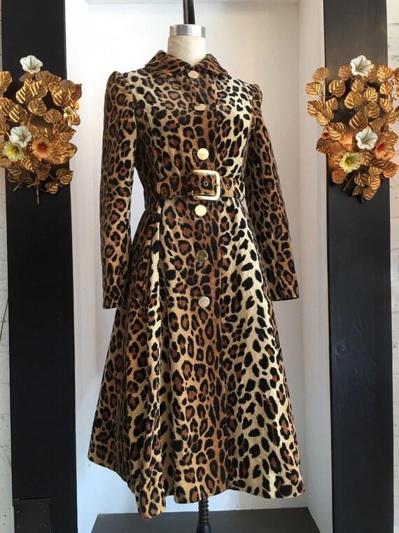 1960s leopard coat, faux fur coat, vintage 60s coa