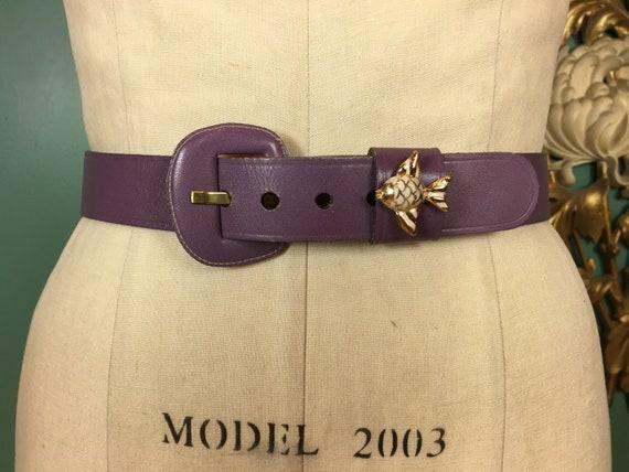 purple leather belt, 1950s novelty belt, Calderon… - image 5