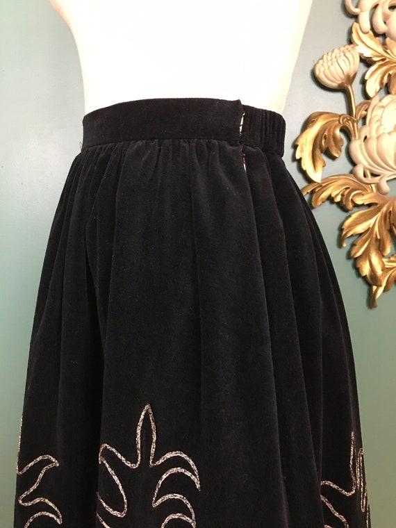 prue acton skirt, vintage 80s skirt, black velvet… - image 8