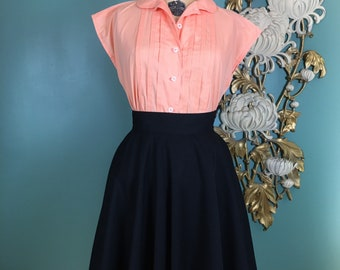1950s cotton blouse, pin tucked shirt, vintage blouse, cap sleeve, coral blouse, button front, mrs maisel style, 1950s separates, rockabilly