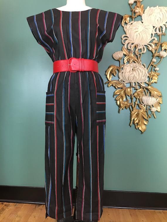 Vintage 80s jumpsuit, stripe cotton jumpsuit, 1980