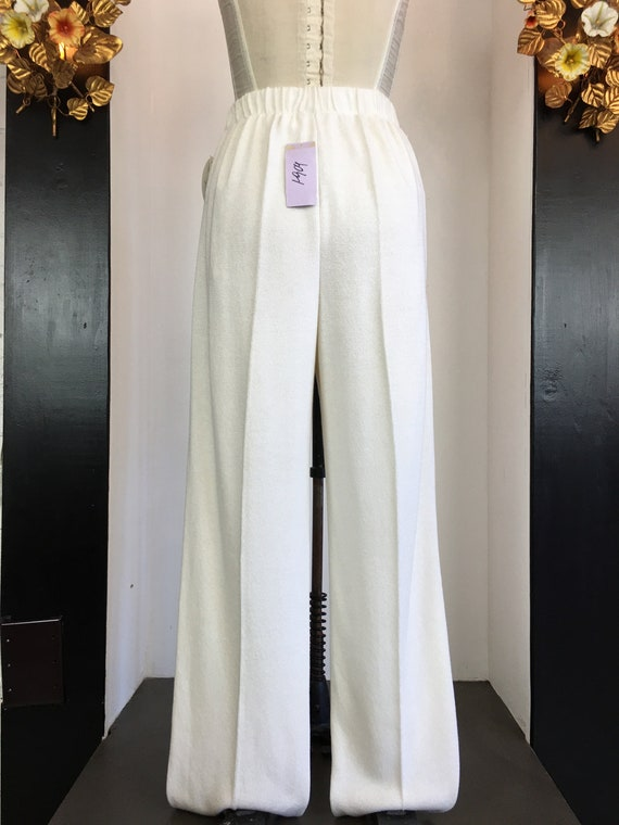 1980s knit pants, vintage 80s pants, wide leg pan… - image 9