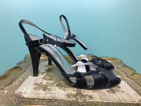 Garolini shoes, black satin heels, 1970s scrappy s