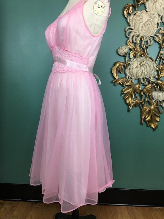 1960s nightgown, pink nylon nightgown, vanity fai… - image 6