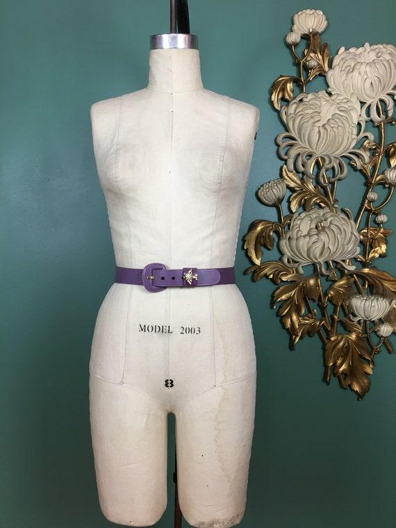purple leather belt, 1950s novelty belt, Calderon… - image 2