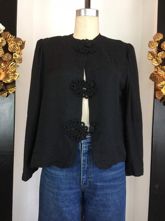 1940s black blouse, vintage 40s blouse, boxy blou… - image 2