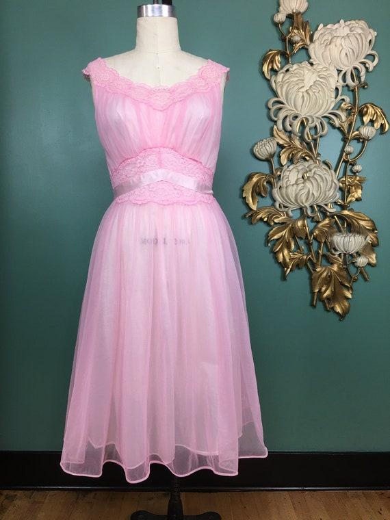 1960s nightgown, pink nylon nightgown, vanity fair