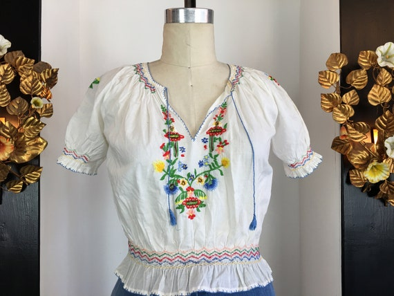 Hungarian style blouse, embroidered cotton blouse,