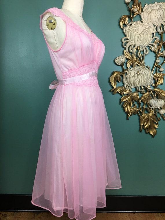1960s nightgown, pink nylon nightgown, vanity fai… - image 4