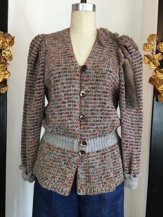 Vintage 1980s sweater, blouson sweater, fur trim s