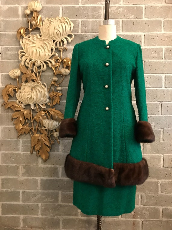RESERVED 1950s lilli ann suit, emerald green boucl