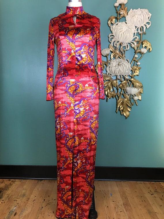 1970s velour dress, vintage maxi dress, novelty pr