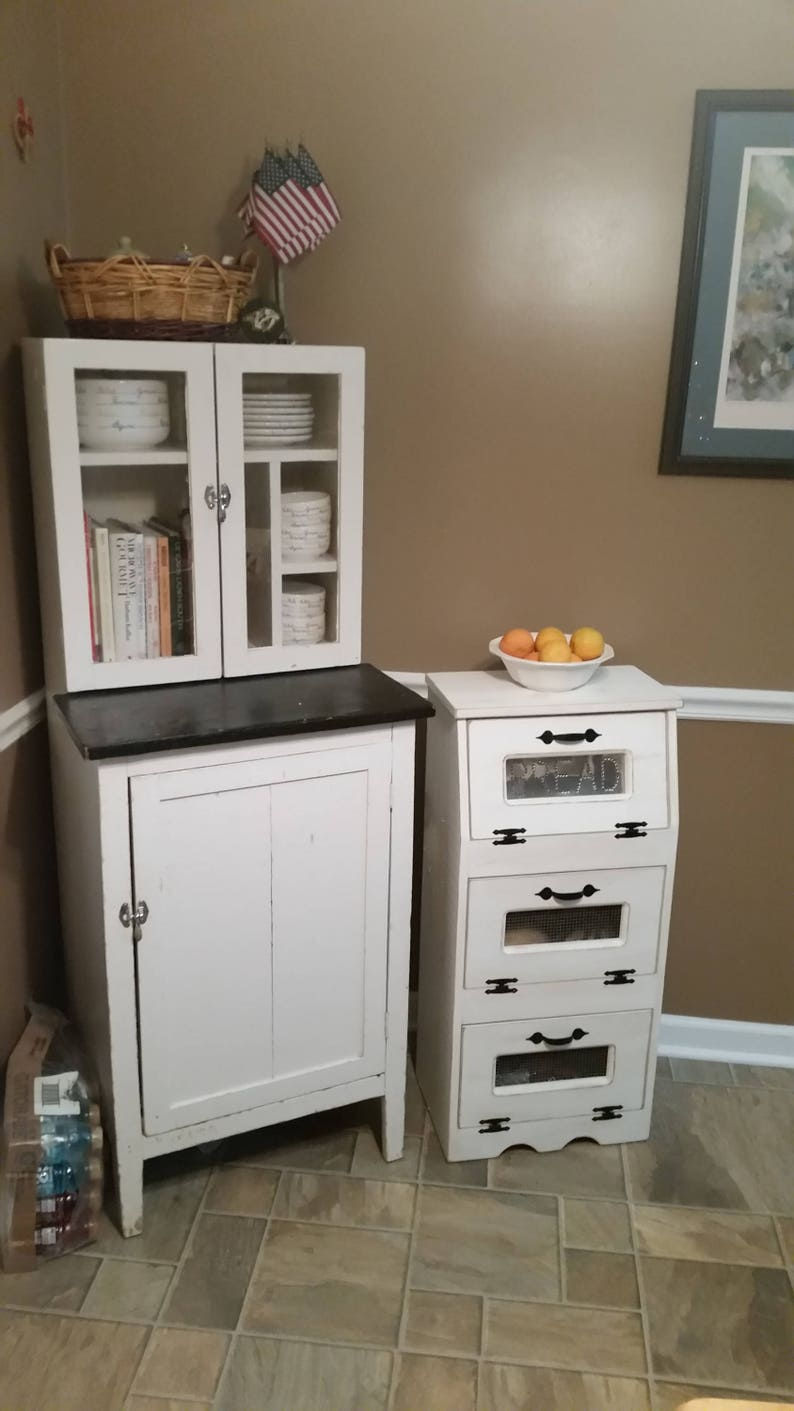 Farmhouse Kitchen Large Vegetable Bin Potato Bread Box Storage Country Bathroom Cupboard Rustic White Wooden Shelf Onion Potatoes