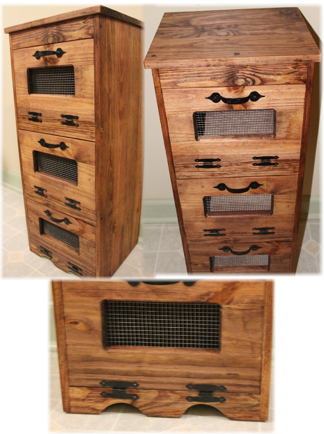 pomme de terre bin bois rangement primitif v g tal de cuisine. Black Bedroom Furniture Sets. Home Design Ideas