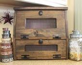 Rustic Farmhouse Bread Box wooden Vegetable Potato Bin Storage Primitive Cupboard Onion Potatoes Country Kitchen Counter top cabinet
