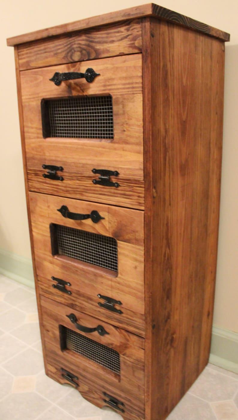 Vegetable Bin Wood Potato Storage Rustic Cupboard Primitive Etsy