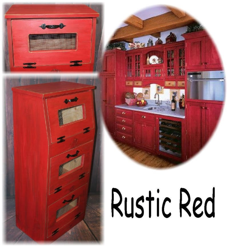 Large Vegetable Bin Potato Bread Box Storage Cupboard Rustic Red Primitive Kitchen Wooden Shelf Onion Potatoes Farmhouse Country