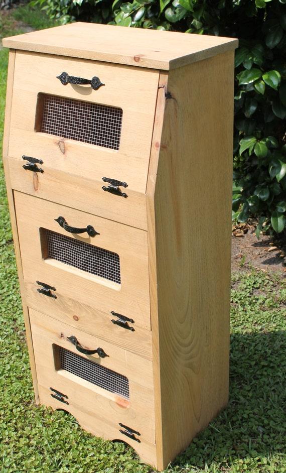 Kitchen Vegetable Box Wooden Potato Onion Bin Rustic Storage Space Saver Wood