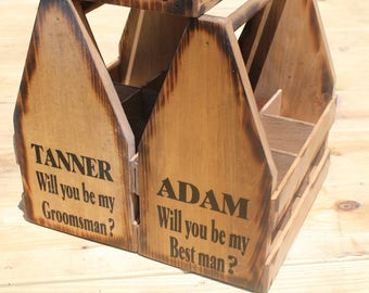 5 - Wood Beer Totes - Beer Carrier - Beer Caddy - Man Cave - Brewery - Personalized - Bottle Opener - Groomsman Best Man Gifts Personalized