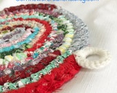 Rainbow Delights Rag Rug POTHOLDER Trivet - Vintage Style Made From Quilting Scraps