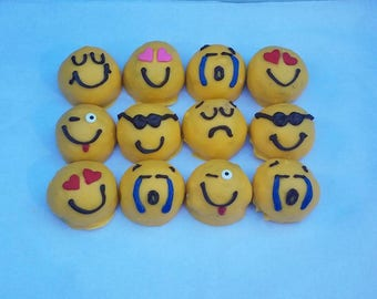 Emoji Cake Balls Pops Birthday Gift One Dozen Get Well Edible Hostess Kids Party Favor Dessert Table Idea