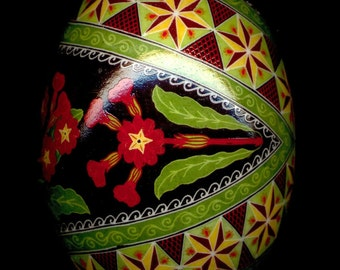Made To Order: Red Primroses Pysanka Pysanky Egg Batik Art by So Jeo