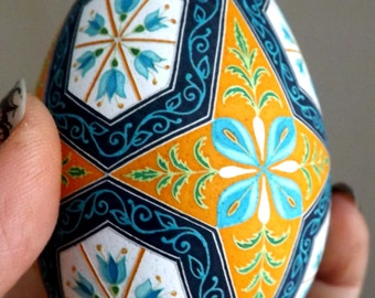 Made To Order Parsnips and Blue Flowers Pysanka Ukrainian Easter Egg Batik Egg Art