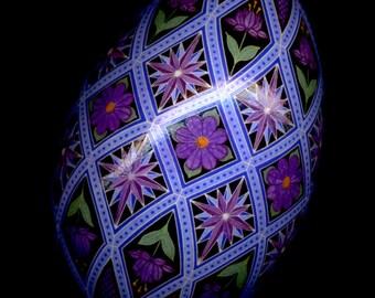 Made To Order Purple Diamonds Pysanka Batik Ukrainian Style Easter Egg Art EBSQ Plus