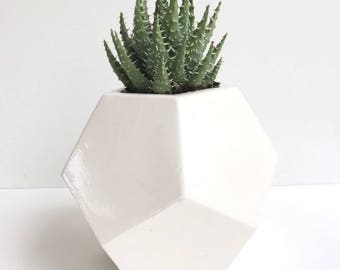 Faceted Geometric (Dodecahedron) Vessel or Planter
