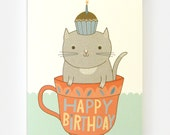 Teacup Cat Birthday - Greeting Card