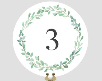 Double Sided Wedding Table Number Cards, Green Wreath Table Numbers, X01