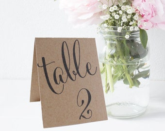 Tented Wedding Table Numbers, Double Sided Table Cards
