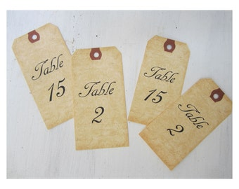 Table Number Tags - Double Side Table Numbers - Mason Jar Table Number -  Wine Bottle Table Number Tag - V01