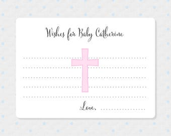Pink Baby Girl Baptism Wish Cards - Baby Christening Wish Cards - Personalized Cards