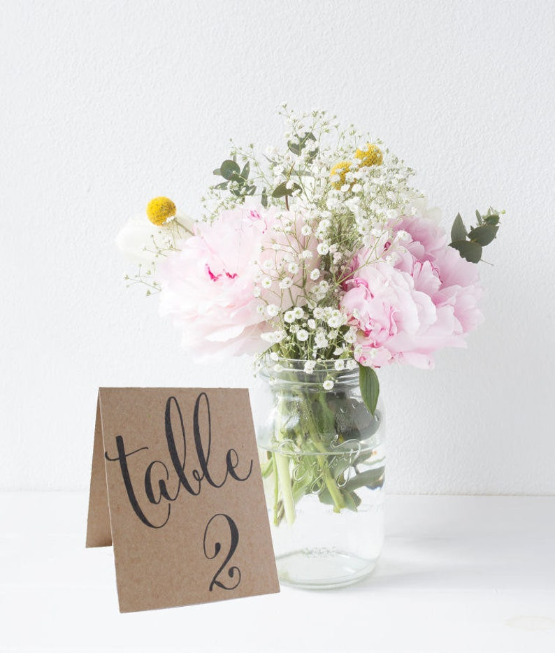 Tented Wedding Table Numbers Double Sided Table Cards image 1