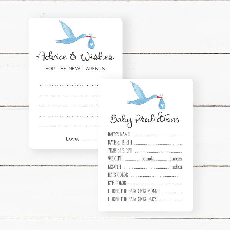 Game Card Bundle for Baby Shower Guess Baby Stats SK1 Baby Stork Advice and Predictions for the Parents to be