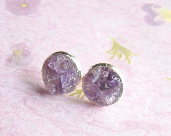 Amethyst Earrings, Crushed Gemstone, Amethyst Stud Earrings, Post Earrings, Gemstone Stud Earrings, under 25, February Birthstone Gift sale