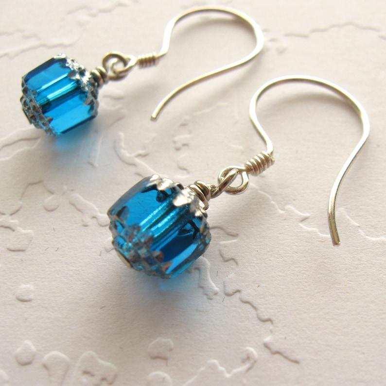 Blue Earrings Silver Blue Earrings Sterling Silver Petite Blue image 0