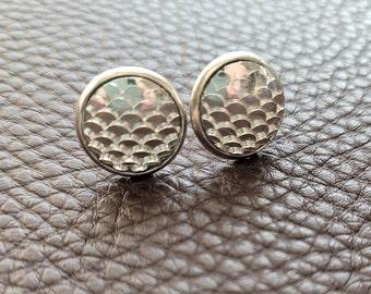 Silver Scale Earrings, Mermaid Earrings, Dragon Scale Jewelry,
