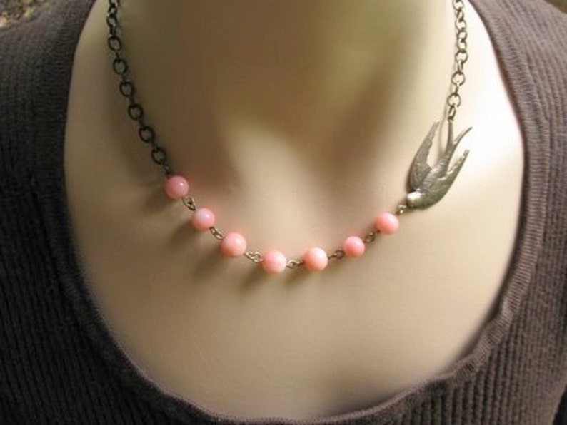 Pink Bird Necklace Bird Lover Gift for Bird Watcher Pink image 0