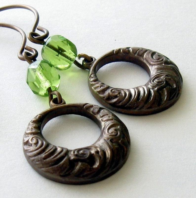 Art Deco Earrings Green and Brown Earrings image 0