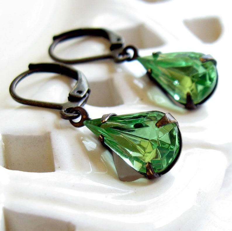 Green Teardrop Rhinestone Glass Jeweled Earrings Shabby Chic image 0