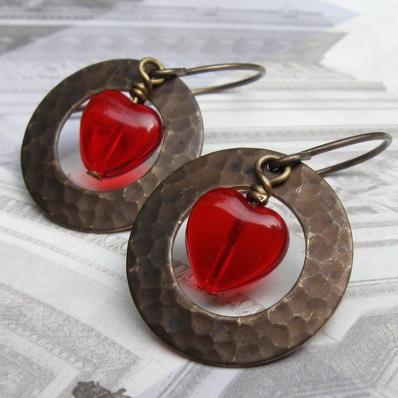 red heart earrings textured earrings Valentines Day Chocolate image 0