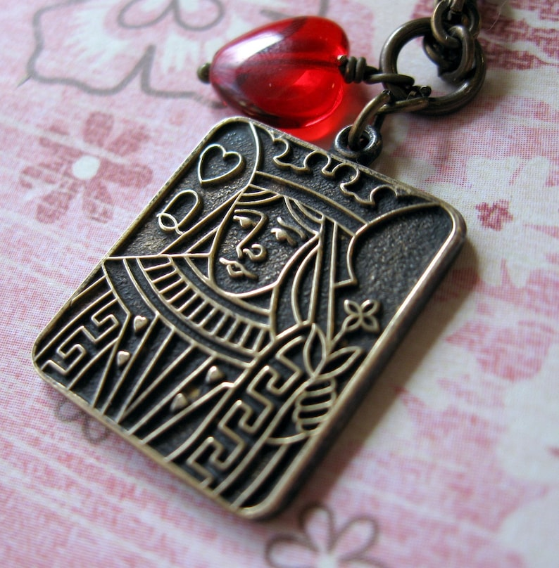 Queen of Hearts NecklaceCard party Gift Poker Party Girls image 0