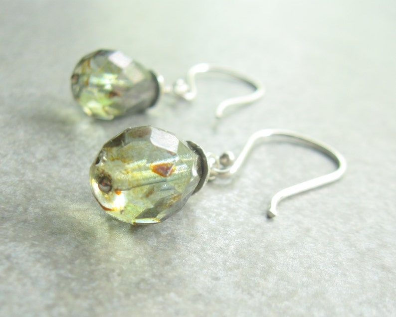 Mossy Green Sterling Silver Earrings  Sage Green Translecent image 0