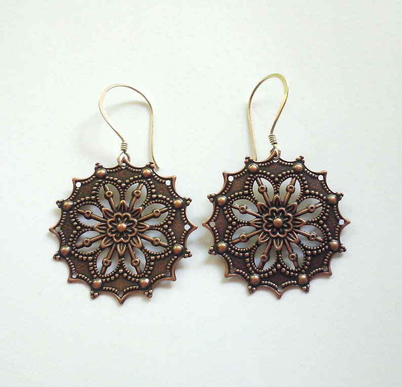 Copper Medallion Earrings Sterling Silver Earwires image 0