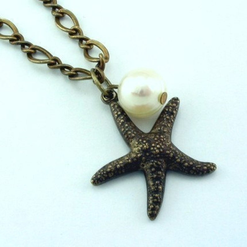 Starfish Necklace Pearl Starfish Necklace image 0