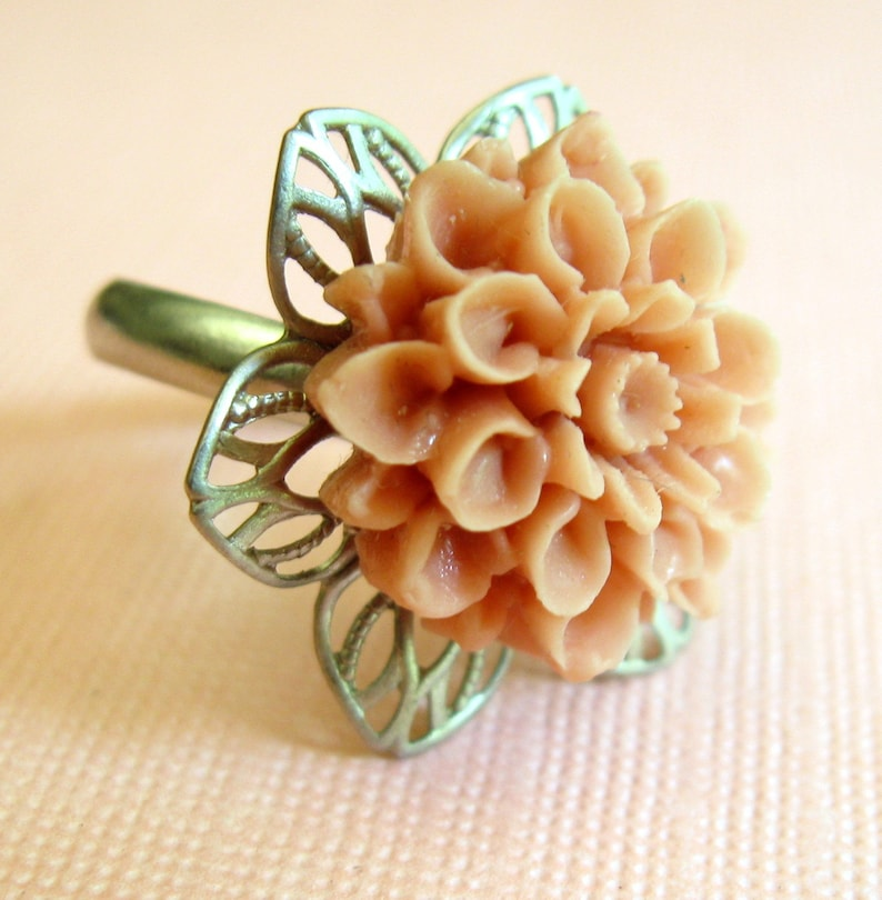 Peach Flower Ring Novelty Ring Silver Peach Ring Flower image 0