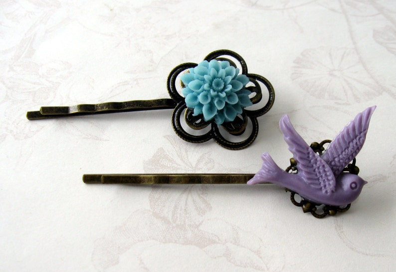 blue flower hairpin blue flower bobbypin purple bird bird image 0